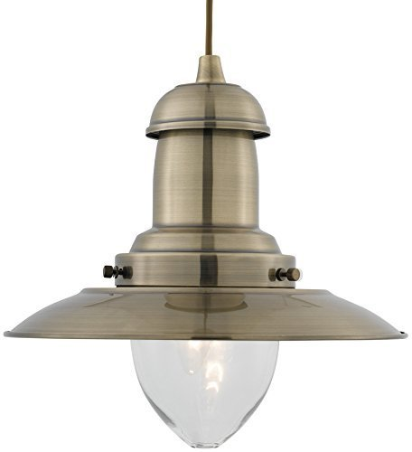 Moderno lampadario da soffitto in ottone anticato a forma di pescatore.