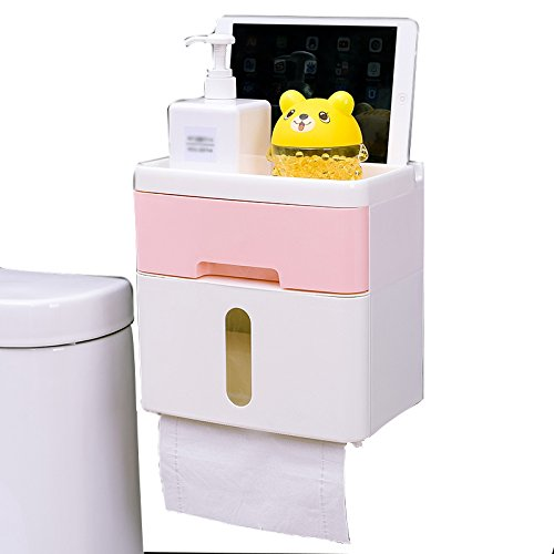 AINJJ WLQ Papierhalter - Toiletten-Toilettenpapierkasten - freie Locherpapierrolle - pumpendes Toilettenpapierkasten - wasserdichter Toilettenpapierhalter,Rosa,groß
