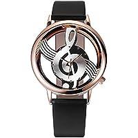 Conquro Símbolo musical de la personalidad reloj de cuero (caja de oro rosa) (Negro)