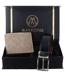 MarkQues Mens Beige and Black Leather Wallet & Belt Combo (IND-2220 IND-0104)