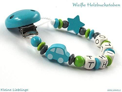 Schnullerkette mit Namen für Jungen Holz - Auto Stern - türkis - grün - grau - Holz - geprägte Holzbuchstaben Baby Geschenk - Taufgeschenk - Silikonring
