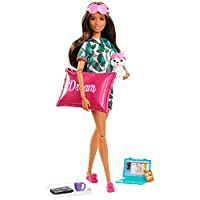 Barbie GJG58 Relaxation Doll, Brunette, with Puppy and 8 Accessories, Including Pillow, Journal and Sleep Masks, Gift for Kids 3 to 7 Years Old