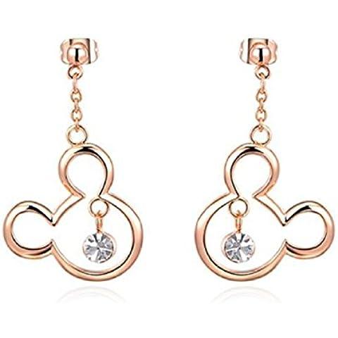 Bling Jewelry Placcato oro rosa 18 kt ciondolo in cristallo Topolino Pierced Dangle Earrings - Diamante Gioielli Di Famiglia