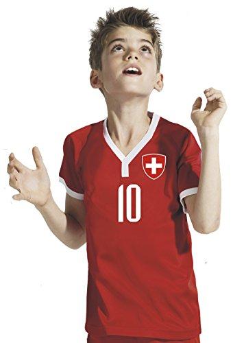Aprom-Sports Schweiz Kinder Trikot - Hose Stutzen inkl. Druck Wunschname + Nr. RWR WM 2018 (116)