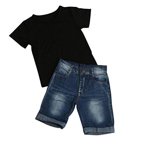 Oyedens Bébé Ensembles Pantalons et Haut, Ensemble Bebe Garcon Naissance Mode Vetement Bébé Garçon Ete Pas Cher Sport Chemise T-Shirts Tops+Shorts en Jean Pantalons pour Bébé Garçon (Noir, 1-2 Ans)