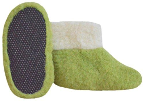 SamWo,Fußwärmer Hausschuhe aus 100% Schafwolle, Größe: 35-48 green pea/natur