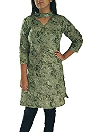 Vitans Women Floral Print Choker Neck Short Cotton Kurti (Green)
