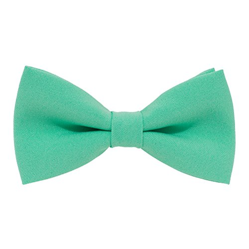 Bow Tie House Classic Pre-Tied Bow Tie Formal Solid Tuxedo, by (Medium, Green Mint) (Tie Bow Green)