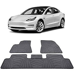 BougeRV Auto Fußmatte Gummimatte SetAutomatten Zubehör Wasserdicht AutoteppichSet für Tesla Model 3 2017 2018 2019