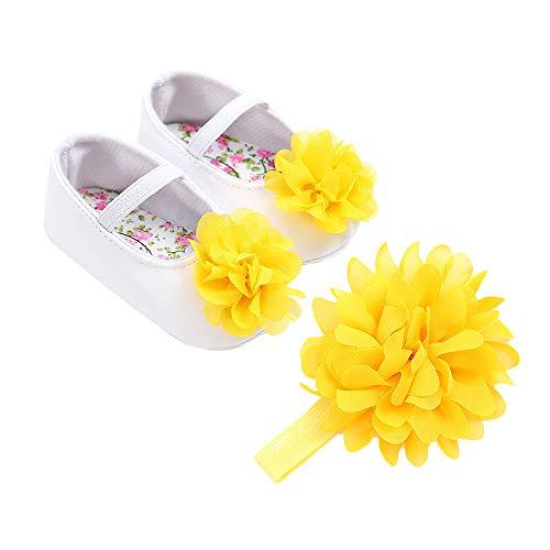 Ginli scarpe bambino,Scarpe Primi Passi Scarpine Neonato Scarpe Bambino Fila Baby Girl Flower Shoes + 1Pc Hair Belt Toddler First Walkers Scarpe per Bambini