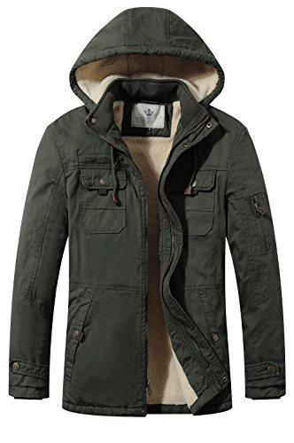 Wenven giacca a vento parka cotone pesante uomo con cappuccio verde militare x-large