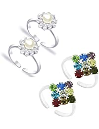 Pcm Lovely Toe Ring Pearl And Colourful CZ Silver Plated Toe Ring Jewellery For Women Pack Of 4