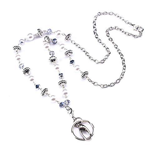 Toyvian Halskette Lanyard Pearls ID Halskette Lanyard Strap String Schlüsselanhänger Lanyard Work Card Pendant Sweater Chain (Halskette-card-inhaber)
