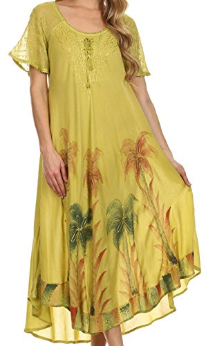 sakkas-14610new-kai-palm-tree-caftan-tank-dress-cover-up-avocado-one-size-regular