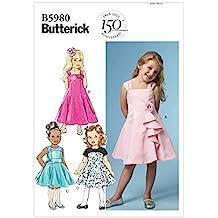 Butterick Patterns 5980 CL - Patrones de costura para vestidos de niña (tallas ...