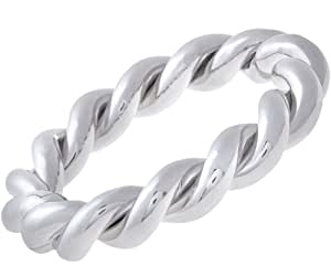 Citerna Rhodium Plated Silver Twist Rope Bangle with Tongue Clasp of Diameter 65 mm