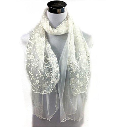 Hunpta Mode Dame bestickten Schal Spitze schiere Burntout Floral Mantilla Schal Wrap (Weiß) (Spitze Wrap Schiere)