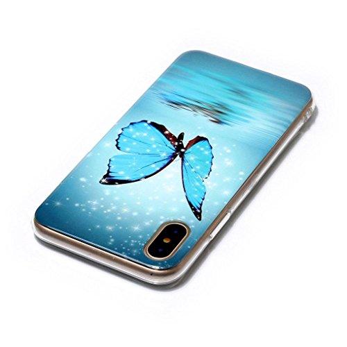 Apple iPhone X Hülle, SATURCASE Schönes Muster Leuchtend Fluoreszierend Ultra Dünn Weich TPU Gel Silikon Schützend Zurück Case Cover Handy Tasche Schutzhülle Handyhülle Hülle für Apple iPhone X (Muste Muster-11