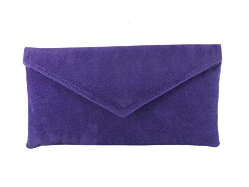 Loni Neat Umschlag Faux Wildleder Clutch Bag/Schultertasche in schwarz Violett Lila