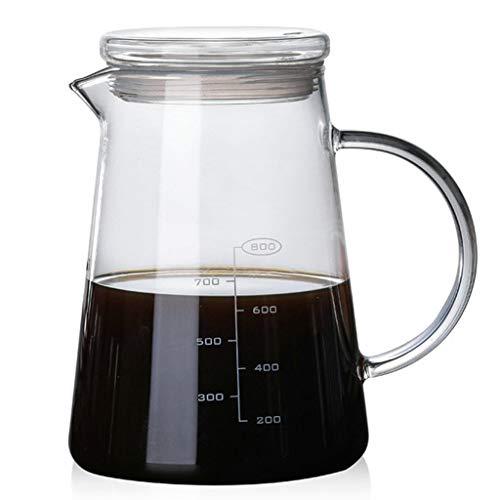 YQQ-Cafetière Serveur de Gamme à café en Verre résistant au Froid V60 de 1200 ML, Ou Le Pot de jus de Tasse de Lait est rempli avec Environ 1200 ML, échelle 800ML