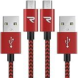 Cable Micro USB Carga Rápida 1M [2-Unidades] GARANTÍA DE por Vida - 2.4A Cable USB Micro USB Compatible con Android, Samsung Galaxy, Kindle, Sony, Nexus, Motorola y más - Rojo
