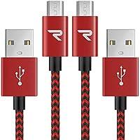 Cable Micro USB Carga Rápida 1m[2-Unidades] GARANTÍA DE por Vida - 2.4A Cable USB Micro USB Sincro y Carga USB para Android, Samsung Galaxy, Kindle, Sony, Nexus, Motorola y más - Rojo