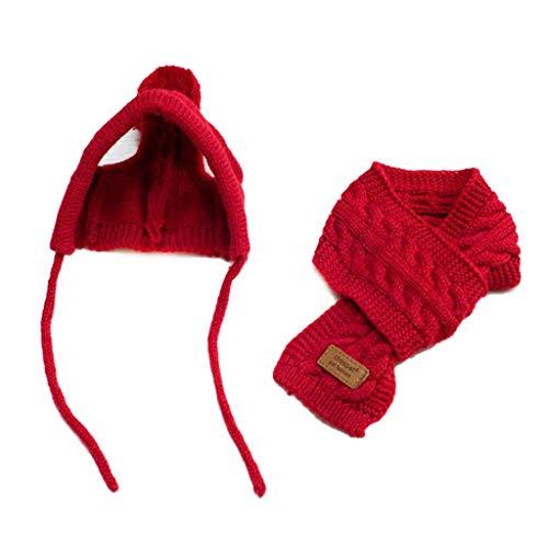 VOVOL Ensemble bonnet et écharpe pour chien Style coréen Laine Décoration Vêtement chaud Fournitures d'hiver S