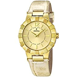 University Sports Press F16735/2 - Reloj de cuarzo para mujer, con correa de cuero, color beige