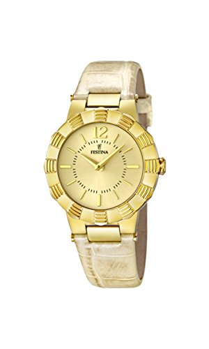 Festina Women's Quartz Watch with Gold Dial Analogue Display and Beige Leather Strap F16735/2