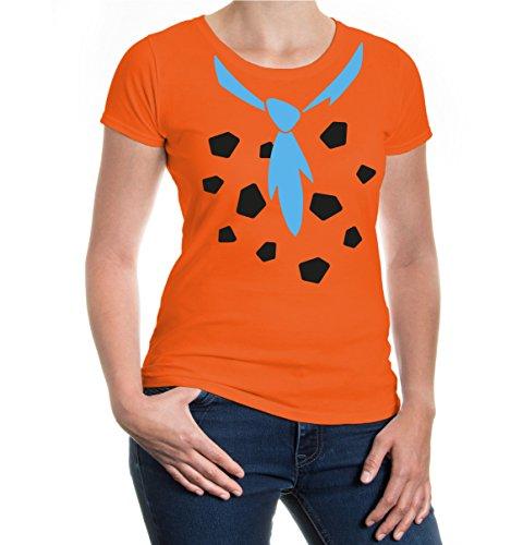 Girlie T-Shirt Steinzeit-Dress-XS-Orange-black/Skyblue (Fred Feuerstein Kostüm Für Frauen)