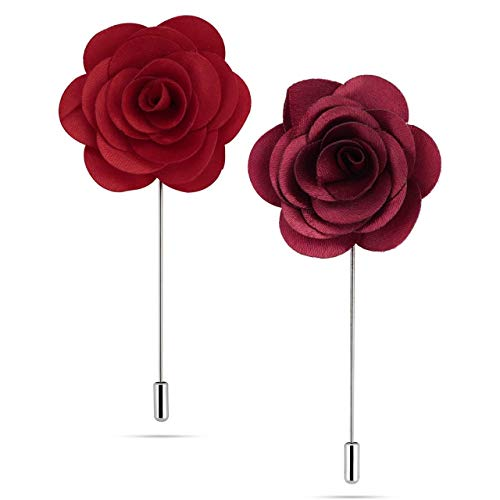 Panjatan Men's Maroon and Red Fabric Flowers Brooches Combo by WI Retail.