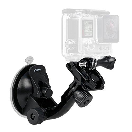 Sametop Saugnapfhalterung Suction Cup Mount Kompatibel mit GoPro Hero 6, 5, 4, Session, 3+, 3, 2, 1 Kameras; Geeignet für Windscützscheiben und Fenster (Suction-cup-mount-kamera)