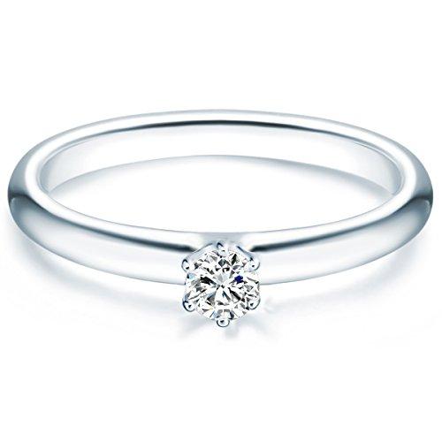 Tresor 1934 Annelli da Donna / Anello di fidanzamento / Solitario in Argento Sterling 925 con rodio Zircone bianco Taglia 8 60451008
