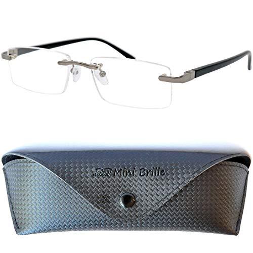 Metall Lesebrille randlos mit rechteckigen Gläsern - mit GRATIS Etui und Brillenputztuch |...