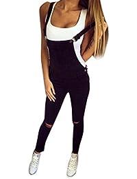 Pantalones Mujer Sexy ❤️ Amlaiworld Monos largos mujer mameluco Mujer Petos Vaqueros Jeans Elásticos Vaqueros Pantalones Jeans overoles Pantalones Demin Mono (2XL, Negro)