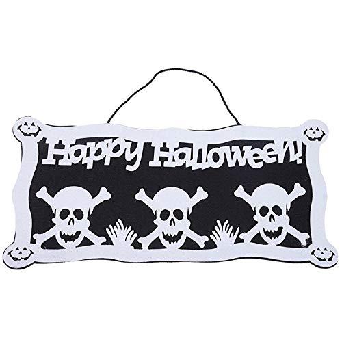 ERQINGZS Halloween-Dekoration Happy Halloween Tag Zeichen Filz Kürbis Und Totenkopf Zeichen Spukhaus Requisiten Für Tür Kamin Fenster Dekoration (Happy Glitzer-zeichen Halloween)