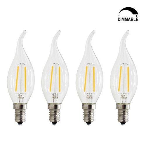 25 Licht-kerzen-kronleuchter (4Stück, dimmbar E142W LED Filament Kerze Licht, entspricht 20W, warmweiß 2700K, für Kronleuchter und Anhänger Verwenden, E14, 2.00 W 220.00 voltsV)