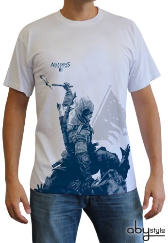 ABYstyle ABYstyleABYTEX195-L Abysse Assassin's Creed Connor A Kneel Down Short Sleeve Man Basic T-Shirt (Large) (Assassin'connor Kostüm)