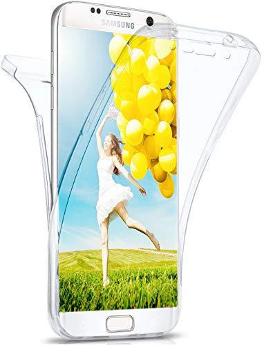 MoEx® Beidseitige Silikonhülle [Vorder + Rückseite] passend für Samsung Galaxy S6 Edge | 360 Grad Cover mit Komplett-Schutz - durchsichtig, Transparent