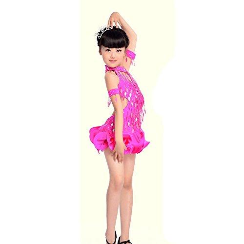 Byjia Mädchen Latin Dance Ballett Kleid Kinder Sequins Kostüme Lose Kids Bühne Aufführungen Jugend Komfort Studenten . Rose Red . 130Cm (Halloween Kostüme Für Ballett Tänzer)