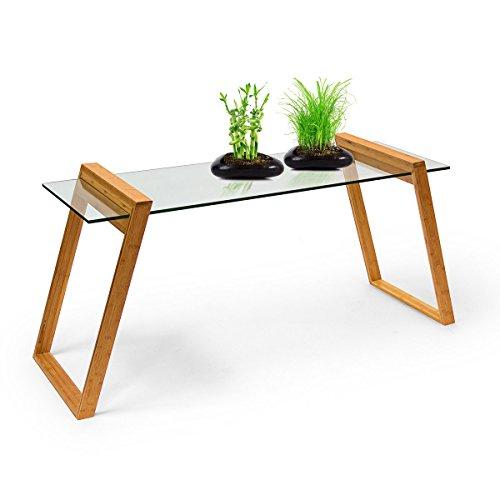 Relaxdays Table basse plateau verre et pieds bambou MUKAI HxlxP : 65 x 130 x 46 cm table de salon rectangle scandinave nordique, nature