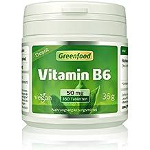 """Vitamin B6, 50 mg, hochdosiert, 180 Tabletten, vegan, Wochenration – das """"Jugend-Vitamin"""", beugt Alterungsprozessen vor. OHNE künstliche Zusätze. Ohne Gentechnik."""