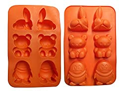 HuaYou 6 Cavity Food Grade Silicone Cartoon Animal Shape Non-Stick Silicone Bake Mold Tray for Fondants, Cake, Chocolates