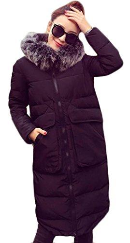EVERY Damen Wintermantel mit Künstlichen Fellkragen Kapuze Dicke Warme Lange Winterjacke Wattejacke Mantel Schwarz Grau Schwarz