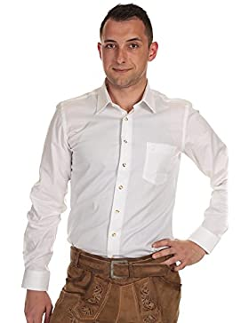 Almsach Herren Hemd Trachtenhemd mit Krempelarm und Stickerei He 134 Slim Fit