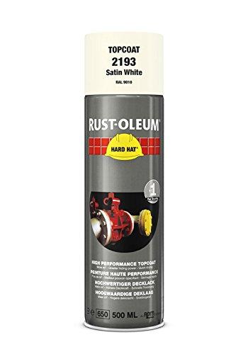 Rust-Oleum 2193Hard Hat Decklack Sonderlackierung geliefert werden, die Nr. 1Industrieller Paint Aerosol. Go weitere, Arbeit Schneller, hält länger., Satin white-ral 9010 (Öl Glanz-aerosol)