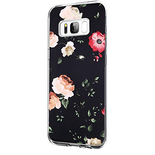 Riyeri Hülle Compatible with Samsung Galaxy S8 Hülle Klar Slim TPU Silikon Bumper Handyhülle für Samsung S8 Plus - Marmor & Blume (S8, 5) 5 Klar Screen Protector