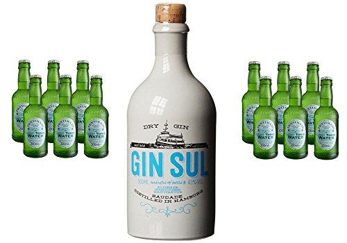 Gin Sul (1 x 0.5 l) mit Fentimans Light Tonic Water, EINWEG (12 x 200 ml) Sun Gun Light