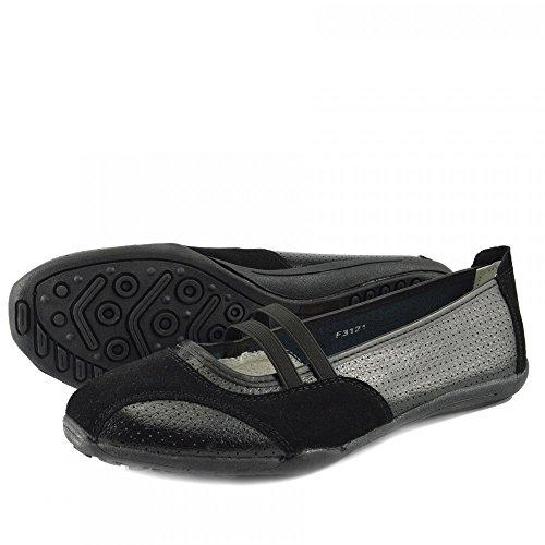 Kick Footwear - Donna Ballerina Del Balletto Di Dolly Pompe Ladies Nero Piatto Mocassini Scarpe Nuove Nero F3121