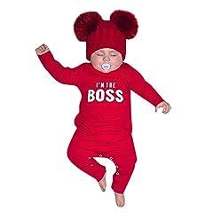 Idea Regalo - Culater 2019 Baby Ragazzi Ragazze Inverno Lettera Stampa Pullover Top Pagliaccetto Tuta Costume Party Set di Vestiti (0-6 Mesi, Rosso)
